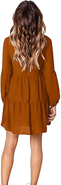 JPLZi Women's Long Sleeve Tunic Dress V Neck Casual Loose Fall Flowy Swing Shift Dresses Soft and Comfortable Base Dress