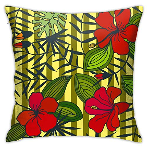 iksrgfvb Pillowcases Cushion Covers decoration Bark Tropical Flowers, Leaves. Seamless Pattern. on the Sofa car bed 45X45 CM