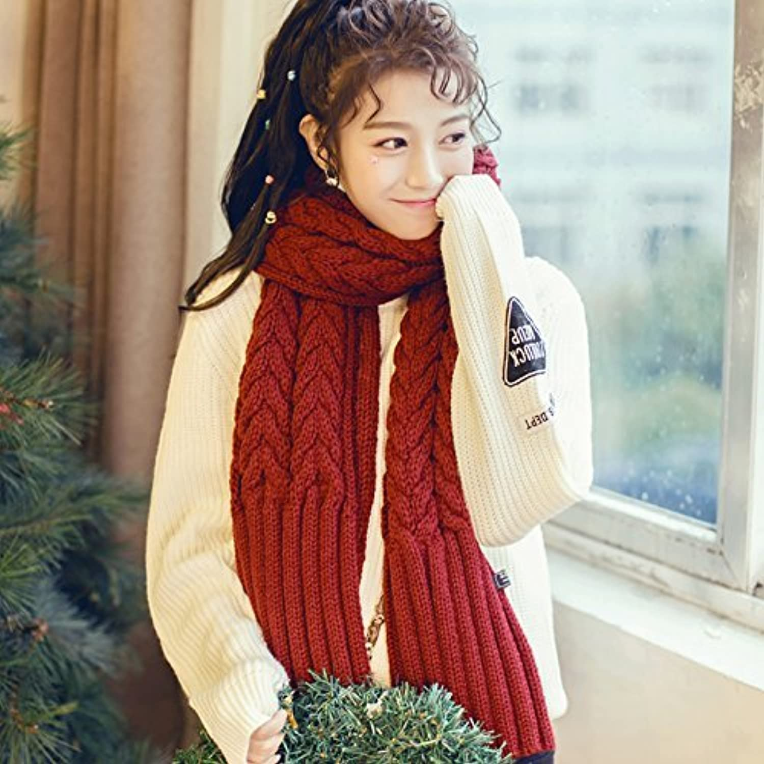 SED ScarfOur Winter Scarf Knitted Shawls Long Thick Couple of Students Imitation Cashmere Scarf Female Autumn and Winter Korean Students Knitted Shawl Long