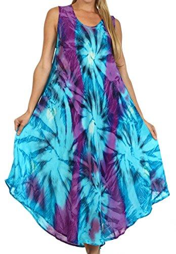 Sakkas 00831 Starlight Caftan Tank Dress/Cover Up - Turquoise/Purple - One Size