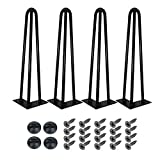 YOLEO Set di 4 Gambe a Forcina Gambe Tavolo, Piedi per Mobili - Disponibile in altezza 35/45/71 cm (14''/18''/28'') - diametro nero 10 mm-con 2 bar / 3 bar (35 cm-3 barre)