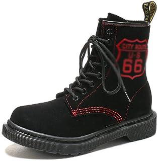 Dingziyue Botas Martin de piel de ante vintage botas de tobillo (color: rojo grande, talla: 37)