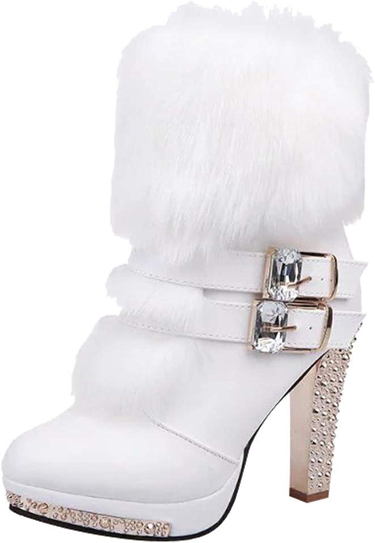 Anxinke Women Warm Faux Fur Rhinestone High Heels Mid-Calf Boots