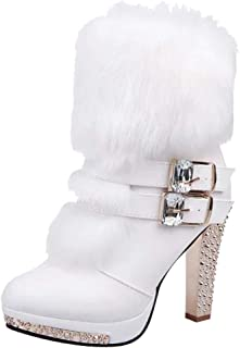 Creazrise Women's Faux Fur Rhinestone Buckle Strap Block Zipper High Heel Boots (Black,8)