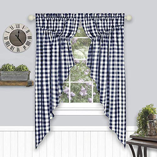 "Woven Trends Farmhouse Curtains, Buffalo Plaid Curtain Shades, Gathered Swag Set, Classic Country Plaid Gingham Checkered Design, Farmhouse Décor, 72"" x 63"" Gathered Swag Pair (2-Pack), Navy Blue"