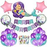 Sirena Decoración de cumpleaños para niña,Morado Feliz cumpleaños Conjunto de Aluminio Globo Látex de pancartas Sirena Party, Fiesta en Globo Decoración Chica Novia Pequeña Fiesta