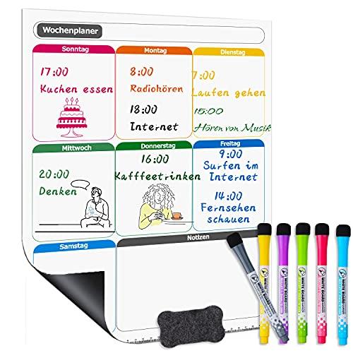 SEAFLY Pizarra blanca magnética, planificador semanal, planificador semanal borrable, bloc de planificación diaria, nevera, planificación de menús y lista de la compra, en alemán