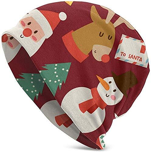 shenhaimojing Fondo de Navidad de Patrones sin Fisuras Sombrero de Punto para Hombres Adultos Gorro Unisex Gorro Holgado de Calaveras livianas Sombrero de Punto