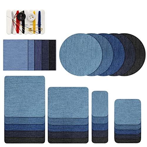 Teegxddy 30pcs Remiendos Con Kit De Costura, Remiendo Denim Blue Oval Tela Hierro-Patch, Ropa De Parches Para Bolsas Camiseta Pantalones Vaqueros Falda De Reparación