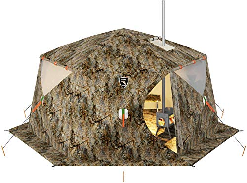 Russian-Bear Hot Tent with Stove Jack - Camping Hunting Ice Fishing Outfitter Cold Weather Tent - All 4 Season Yurt Expedition Arctic Living Warm Luxury Camp Bell Winter Tent
