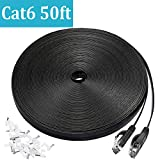 Cat 6 Ethernet Cable 50 ft, Flat Wire LAN Rj45 High Speed Internet Network Cable Slim with Clips, Faster Than Cat5e,Cat5 with Snagless Connectors for PS4, Xbox one, Switch Boxes, Modem, Router,Black