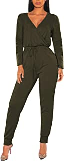 Fixmatti Women Jumpsuit Low V Neck Drawstring Waisted Long Pant Romper Outfits