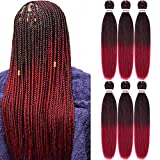 Pre Stretched Braiding Hair 22 Inch 6 Packs Synthetic Crochet Braiding...