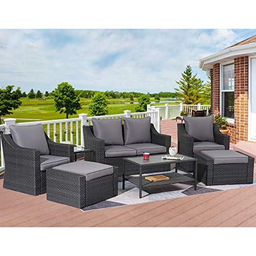 Stamo Outdoor Sectional Furniture 8-Piece Patio Conversation Furniture Set, Rattan Wicker Chairs Patio Sofa Set with Glass Table, All-Weather Outdoor Furniture Set with Grey Cushions