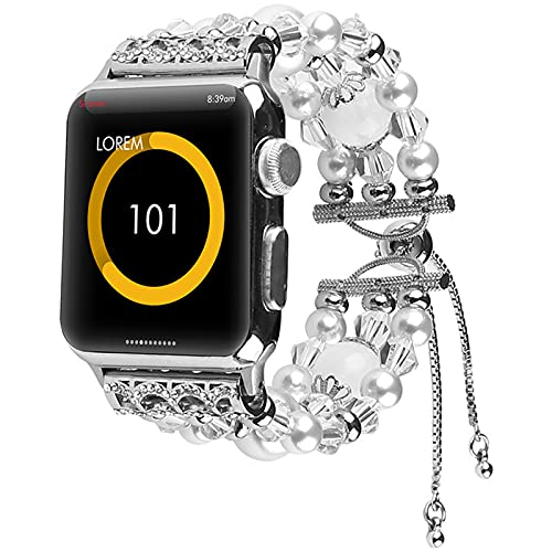 YWZQ Sports Wristband, Compatible with Apple Watch Strap 40MM 38MM 42MM 44MM, Women's Bracelet Rhinestone Replacement Bands for Iwatch Series 6/5/4/3/2,White,38/40
