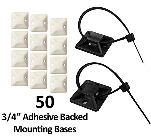 """3/4"""" Adhesive Backed Mounting Bases - 50 Pieces - Color: White"""