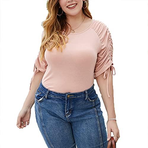 Primavera Y Verano Mujer Suelta Cuello Redondo Color SóLido Hombro Plisado Manga Corta Casual Top Camiseta Mujer