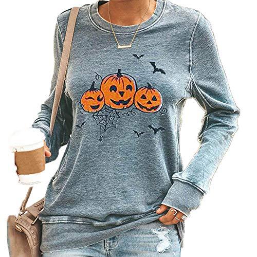 3CHP8HYB Halloween-Thema Hoodie Frauen Langarm Bluse Druck Herbst Und Winter Plus Size Frauen