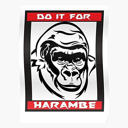 Revolve Animal Harambe Zoo Gorilla Beeindruckende Poster für die Raumdekoration, gedruckt mit modernster Technologie auf seidenmattem Papierhintergrund
