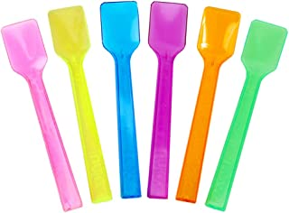 Transparent Mixed Plastic Gelato Spoons - 6 Color Disposable Tasting Spoons - New Mini Shovel Spoons for Sampling Yummy Foods & Ice Cream - Frozen Dessert Supplies
