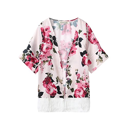 Winsummer Baby Girl Floral Print Jacket Tassel Chiffon Kimono Cardigan Cover up Blouse Sun Protection Summer Coat Clothes (Pink, 2T)