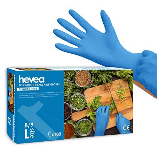 Hevea, guanti in nitrile monouso. Senza talco e senza lattice. Set da 5 scatole da 100 guanti. Taglia: L (Large). Colore: blu
