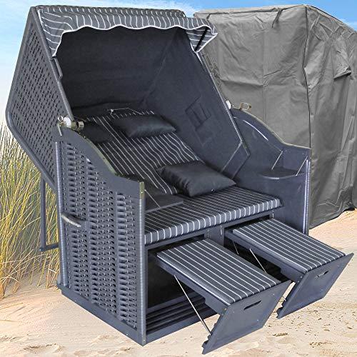 XINRO® Strandkorb XL ❖ anthrazit Nadelstreifen gestreift ❖ Polyrattan grau ❖ Volllieger ❖ 2-Sitzer ❖ inkl. Winterfester Schutzhülle ❖ 118x90 x 160 m (BxTxH)