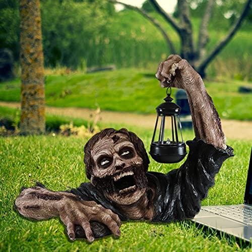 FUFRE Zombie Gnome - Figuras de jardín para Halloween, farol de resina, artesanía, decoración de jardín, estatua de terror