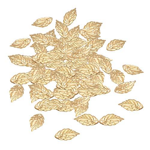 100pcs Blatt Metall Anhänger Charms für Schmuckherstellung Halskette Basteln DIY Golden