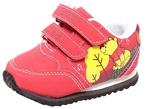 Disney Babyschuhe Lauflerner Sneaker mit Klettverschluss für Jungen Mädchen Winnie The Pooh rot Gr. 20-23 (22)