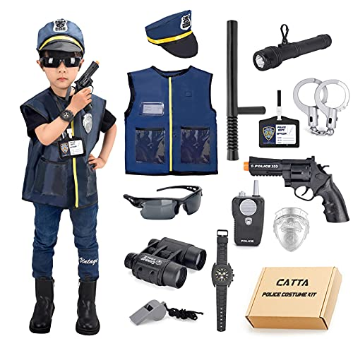 Police Costume for Kids, CATTA Police Officer Uniform Gear Pretend Play Set for Halloween Role Play Party for Boys & Girls 4-8 Year Old