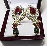 Christmas Red Heart Crown Shiny Rhinestones Dangle Pierced Earrings 12f 19 ES-2642