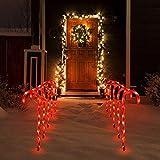 Décoration de Noël Extérieur Lumineuse Traditionnelle,duquanxinquan Lot de 100 Lampes LED en Forme de Sucre d'orge,Luminaires extérieur Cannes de Sucre dorge solaires à LED