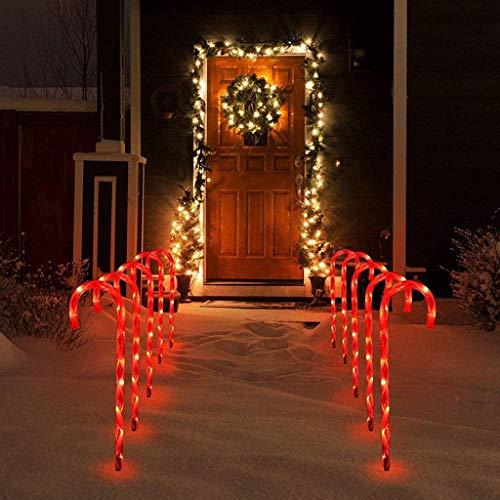 Décoration de Noël Extérieur Lumineuse Traditionnelle,duquanxinquan Lot de 10 Lampes LED en Forme de Sucre d'orge,Luminaires extérieur Cannes de Sucre dorge solaires à LED