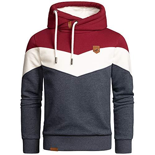 Amaci&Sons Herren Basic Kapuzenpullover Sweatjacke Pullover Hoodie Sweatshirt 4052 Bordeaux/Weiß/Blau L