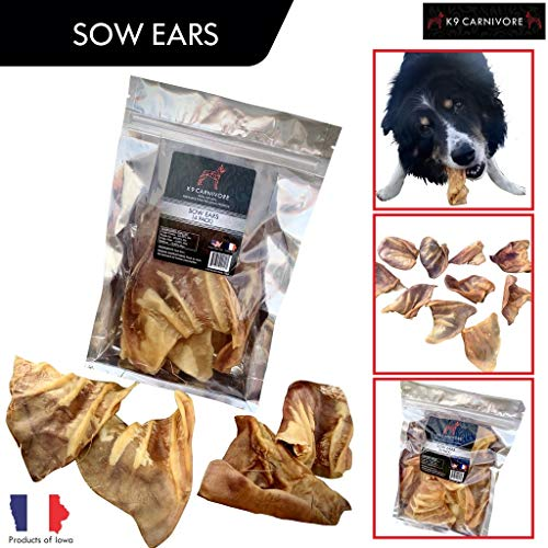 K9 CARNIVORE 100% Natural Sow Ears (4 Pack) Dog Treats Made in USA - Fully Digestible and Chemical Free - Best for All Breed Dogs