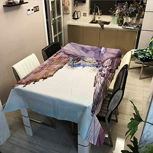 Street View Series Impression Numérique Imperméable À l'eau Nappe Table Basse Tissu Couverture Multifonctionnelle Serviette 90x90cm