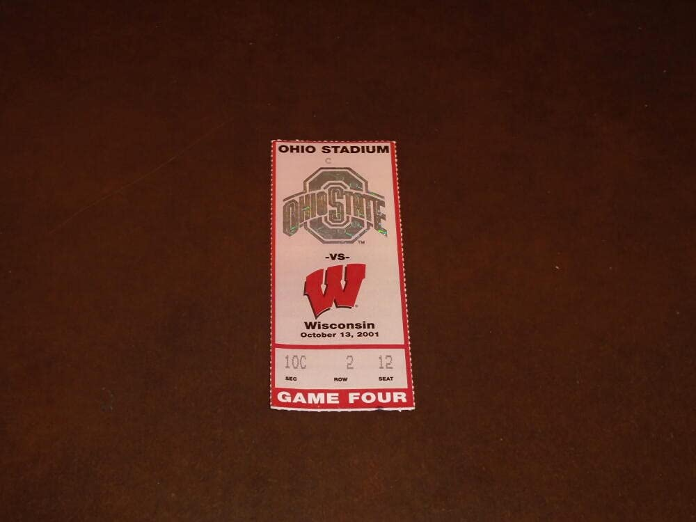 2001 WISCONSIN AT OHIO TICKET Max 71% OFF New color FOOTBALL STATE STUB