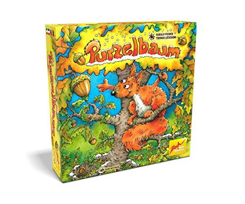 Zoch 601105128 - Purzelbaum - dreidimensionales Geschicklichkeits- und Memoryspiel, mit Holzbaum und Nüssen, 2-4 Spieler, für Kinder ab 4 Jahren