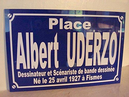 Noir & Mat Sérigraphie Albert UDERZO BD Plaque de Rue création Collector Edition limitée Cadeau Original