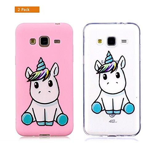 E-Flamingo [2 Pack] Universecase Funda Compatible con Samsung Galaxy J7 2016 Unicornio Rosa Claro Suave Flexible Silicona Gel Bumper Cover Inquebrantable Carcasa Creativa Diseño