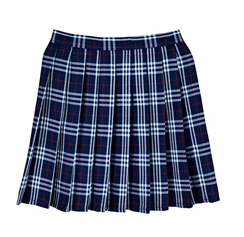 Women School Uniforms plaid Pleated Mini Skirt, Waist(88cm/34.5inch) 4XL, Deep Blue