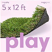 MEGAGRASS 5 x 12 Feet Premium Deluxe Artificial Grass for Playgrounds [Indoor or Outdoor Turf Rug Flooring and Thick Fake Grass Play Mat Pads for Kids, Pets, Dogs, Parks, Schools, and Daycares]
