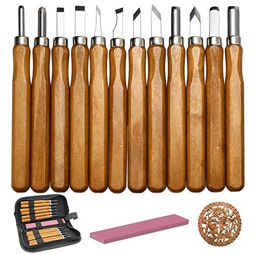 Schnitzwerkzeug, Holzschnitzset aus weißem Stahl Professionelles Holzschnitzmesser mit Schleifstein (12 Stück)