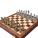 FABAX Juego de Ajedrez Magnetico De Metal Brillante de Oro y Plata de los Pedazos de ajedrez de Madera Plegable sólido Tablero de ajedrez de Alto Grado Profesional de ajedrez Juegos Set Ajedrez