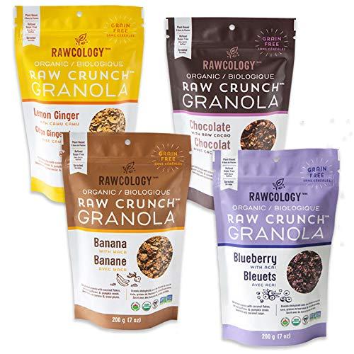 Rawcology - Pack de 4 Granolas Chocolat, Banane, Citron, Myrtille   100% organique   Keto   Sans sucres ajoutés, sans gluten, Paleo   200g