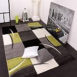 Paco Home Alfombra De Diseño Perfilado - A Cuadros - Verde Negro, tamaño:120x170 cm