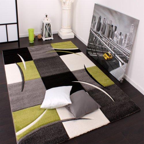 Paco Home Alfombra De Diseño Perfilado - A Cuadros - Verde Negro, tamaño:80x150 cm