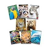 Pigna Animal 02302830Q, Quaderno formato A4, Rigatura 0Q, quadretti 5 mm con margine per 2° e 3° elementare, Carta 80g/mq, Pacco da 10 Pezzi