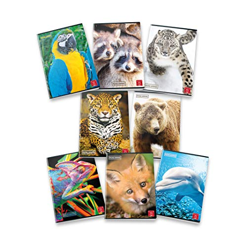 Pigna Animal 02302831R, Quaderno formato A4, Rigatura 1R, righe per medie e superiori, Carta 80g/mq, Pacco da 10 Pezzi